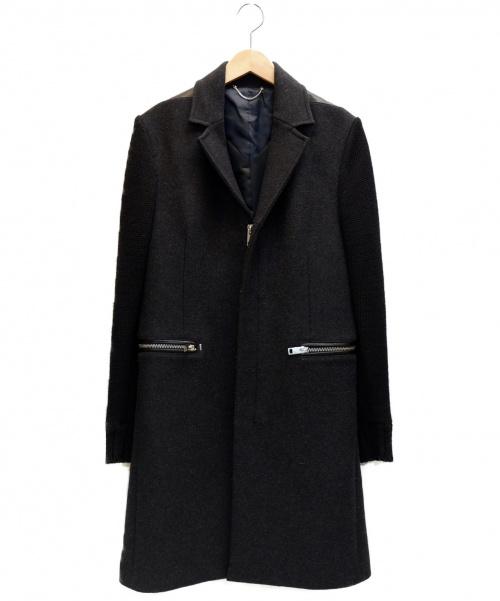 DIESEL(ディーゼル)DIESEL (ディーゼル) 袖切替ジップチェスターコート グレー サイズ:表記サイズ:Sの古着・服飾アイテム