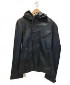 KATHARINE HAMNETT(キャサリンハムネット)の古着「シープレザーフーデッドジャケット」 ブラック