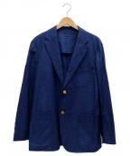BLUE BLUE()の古着「金釦リネン混3Bジャケット」|ネイビー
