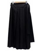 Ys(ワイズ)の古着「プリーツラップスカート」|ブラック