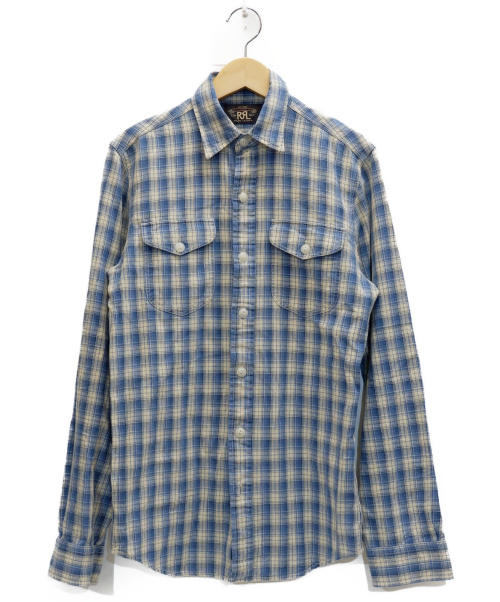 RRL(ダブルアールエル)RRL (ダブルアールエル) チェックシャツ アイボリー×ブルー サイズ:表記サイズ:XSの古着・服飾アイテム