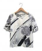 LEONARD SPORT(レオナールスポーツ)の古着「半袖カットソー」|ホワイト×ブラック