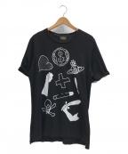 Vivienne Westwood ANGLOMANIA(ヴィヴィアンウエストウッド アングロマニア)の古着「プリントカットソー」|ブラック