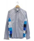 ()の古着「切替ボタンダウンシャツ」 ブルー
