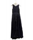 emmi atelier(エミアトリエ)の古着「ノースリニットドッキングワンピース」|ブラック