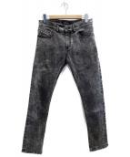 DIESEL Black Gold(ディーゼル ブラック ゴールド)の古着「ケミカルウォッシュスキニーデニムパンツ」|グレー