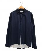 ETHOSENS(エトセンス)の古着「レイヤードシャツブルゾン」|ネイビー×グレー