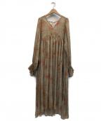 UNGRID(アングリッド)の古着「フラワープリント楊柳ワンピース」 オリーブ
