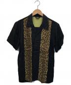 FLAT HEAD(フラット ヘッド)の古着「レオパード柄レーヨンハワイアンシャツ」 ブラック×ブラウン