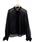 ()の古着「シフォンフリル衿リボンブラウス」|ブラック