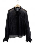 furfur(ファーファー)の古着「シフォンフリル衿リボンブラウス」|ブラック