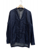 ()の古着「ノーカラーシャツジャケット」|インディゴ