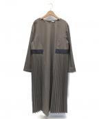 kelen(ケレン)の古着「T/Sクロスサイドプリーツドレス」 ブラウン