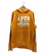 A BATHING APE()の古着「袖プリントプルオーバーパーカー」|オレンジ