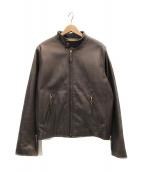 ()の古着「シングルレザーライダースジャケット」|ブラウン
