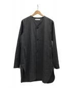 ()の古着「ノーカラーシャツジャケット」 グレー