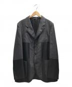COMME des GARCONS HOMME DEUX(コムデギャルソン オム ドゥ)の古着「2WAY異素材切替シングルチェックジャケット」|グレー×ブラック