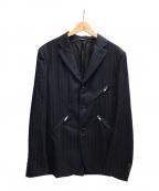 COMME des GARCONS HOMME DEUX(コムデギャルソン オム ドゥ)の古着「チョークストライプジップジャケット」|ネイビー