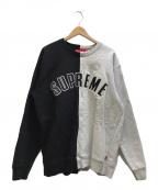 SUPREME(シュプリーム)の古着「Split Crewneck Sweatshirt」 グレー×ブラック