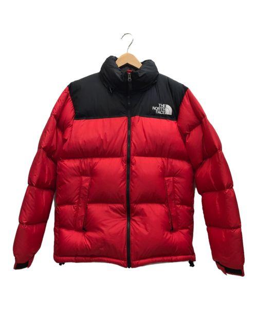 THE NORTH FACE(ザ ノース フェイス)THE NORTH FACE (ザ ノース フェイス) ヌプシンダウンジャケット レッド×ブラック サイズ:XLの古着・服飾アイテム