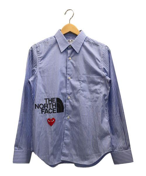 PLAY COMME des GARCONS(プレイ コムデギャルソン)PLAY COMME des GARCONS (プレイ コムデギャルソン) シャツ ブルー×ホワイト サイズ:Mの古着・服飾アイテム