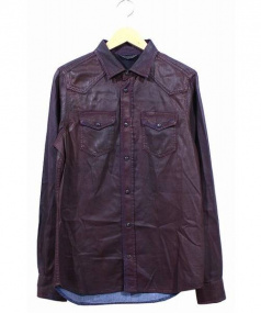 DIESEL(ディーゼル)の古着「コーティング加工ウェスタンシャツ」|パープル