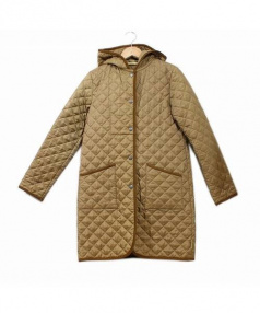 Traditional Weatherwear(トラディショナルウェザーウェア)の古着「フーデッドキルティングロングコート」|ベージュ