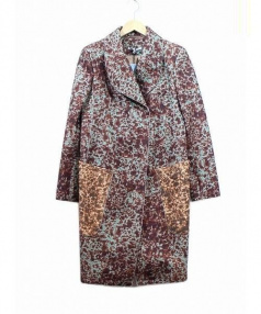 CARVEN(カルヴェン)の古着「総柄ロングコート」|ブラウン×グリーン