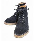 THOM BROWNE(トムブラウン)の古着「クレープソールウィングチップブーツ」|ブラック