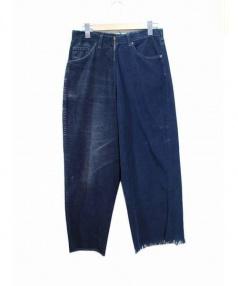77circa(ナナナナサーカ)の古着「カットオフリメイクコーデュロイパンツ」 ネイビー×ブラック