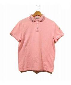 MONCLER(モンクレール)の古着「トリコロールラインポロシャツ」|ピンク