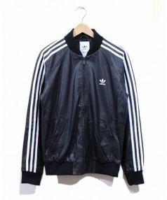 adidas(アディダス)の古着「ラムレザートラックジャケット」 ブラック