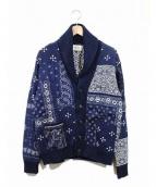 Denim & Supply Ralph Lauren(デニムアンドサプライ ラルフローレン)の古着「バンダナパッチワークショールカーデ」|インディゴ