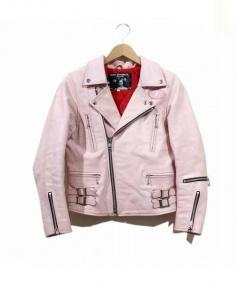 SEXY DYNAMITE LONDON(セクシーダイナマイトロンドン)の古着「バッファローレザーライダースジャケット」|ピンク