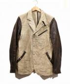 ISAMU KATAYAMA BACKLASH(イサムカタヤマ・バックラッシュ)の古着「ホースレザー切替リネン混ジャケット」|ベージュ×ブラウン