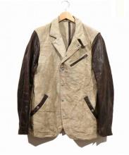 ISAMU KATAYAMA BACKLASH(イサムカタヤマ・バックラッシュ)の古着「ホースレザー切替リネン混ジャケット」 ベージュ×ブラウン