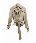 BURBERRY BLUE LABEL(バーバリーブルーレーベル)の古着「ベルテッドショートジャケット」|ベージュ