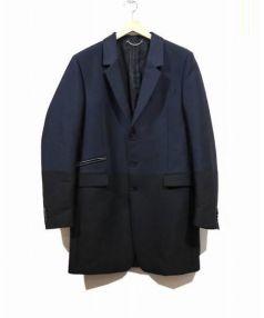 DIESEL BLACK GOLD(ディーゼル ブラックゴールド)の古着「バイカラーチェスターコート」|ネイビー×ブラック