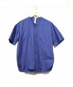 MHL.(エムエイチエル)の古着「リネン混ノーカラーシャツ」|ネイビー