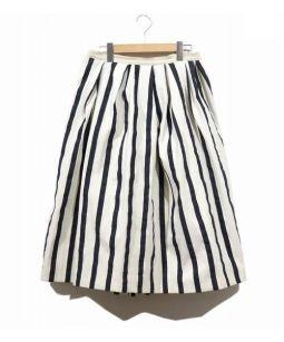 DRAWER(ドゥロワー)の古着「タックギャザーストライプスカート」|ホワイト×ブラック