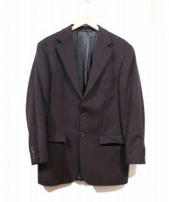 BOSS HUGO BOSS(ボス ヒューゴ ボス)の古着「カシミヤ混テーラードジャケット」 ダークパープル