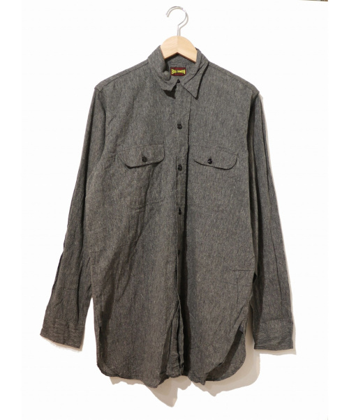 BIG SMITH(ビッグスミス)BIG SMITH (ビッグスミス) [古着]ブラックシャンブレーシャツ グレー サイズ:表記なし 50s チンストラップ付の古着・服飾アイテム