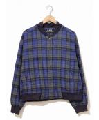 VINTAGE(ヴィンテージ/ビンテージ)の古着「[古着]チェックウールブルゾン」|ブルー