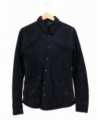 ISAMU KATAYAMA BACKLASH(イサムカタヤマバックラッシュ)の古着「カウレザーレザーシャツ」|ブラック