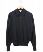 JOHN SMEDLEY(ジョン スメドレー)の古着「ニットポロシャツ」|ブラック