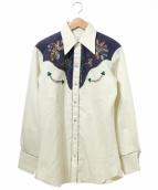 H BAR C(エイチバーシー)の古着「ヴィンテージ刺繍ウエスタンシャツ」|ベージュ