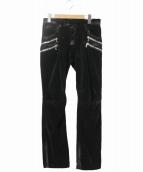BALMAIN(バルマン)の古着「コーティング加工ベロアバイカーパンツ」|ブラック