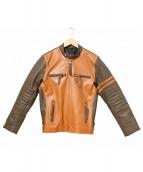 freedom(フリーダム)の古着「バイカラーシングルライダースジャケット」|ブラウン