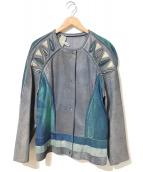 ROBERTO CAVALLI(ロベルトカヴァリ)の古着「[OLD]パイソン装飾レザージャケット」|ネイビー