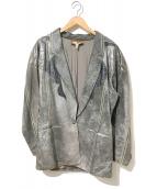 ROBERTO CAVALLI(ロベルトカヴァリ)の古着「[OLD]装飾レザージャケット」|グレー